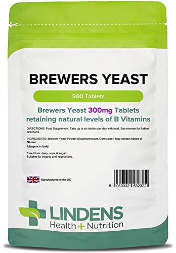 Lindens Bierhefe 300 mg Tabletten | 500 Verpackung | Natürliche Quelle für Vitamine und Mikro-Nährstoffe. Nicht entbittert für maximalen Nährstoffgehalt