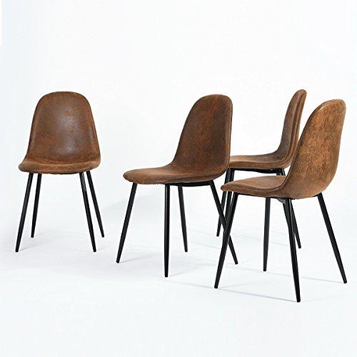 n.b.f–Juego de 4sillas Scandinaves marrón comedor sillas de cocina Vintage en suede piel marrón