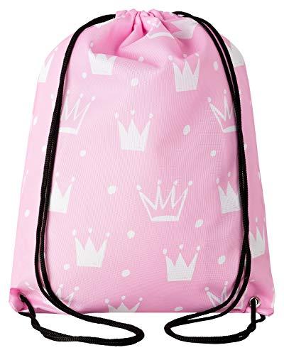 Aminata Kids - Kinder-Turnbeutel für Mädchen mit für Princess Königin König-s-Krone Tiara Prinzessin Sport-Tasche-n Gym-Bag Sport-Beutel-Tasche rosa (Kronen Für Die Könige)