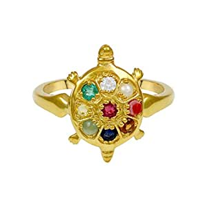 Exxotic Fashion 24k Gold Plated .925 Silver With Navaratna Tortoise Adjustable Ring