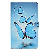 Felfy Galaxy Tab 3 Lite Hüllen Leder,Galaxy Tab 3 Lite T111 Case Leder,Galaxy Tab 3 Lite T110 Tasche Muster Marmor Blumen Katze Liebe Muster Flip PU Leder Hülle Smart Cover