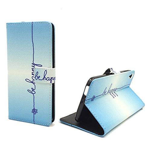 König-Shop Handy-Hülle für Alcatel One Touch Idol 3 5.5 Zoll Klapp-Hülle aus Kunst-Leder | Inklusive Panzer Schutz Glas 9H | Sturzsichere Flip-Case in Blau | Im Be Happy Blau Motiv