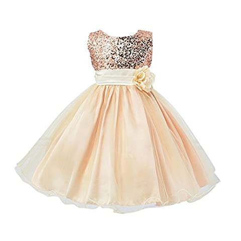 EXIU Summer Baby Girls Birthday Wedding Party Princess Dress 0-2 Years, Beige, 18-24 months/Tag XL