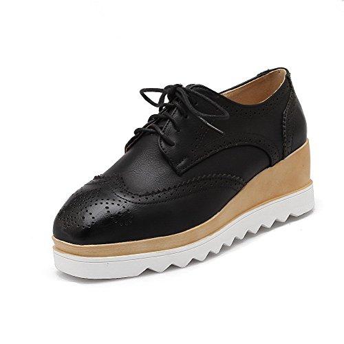AgooLar Femme Pu Cuir à Talon Correct Carré Couleur Unie Lacet Chaussures Légeres Noir