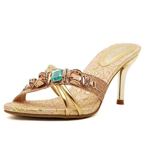 ZYUSHIZ Diamant synthétique Sandales Sandales High-Heel européen Mme 35EU