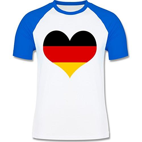 EM 2016 - Frankreich - Deutschland Herz - zweifarbiges Baseballshirt für Männer Weiß/Royalblau