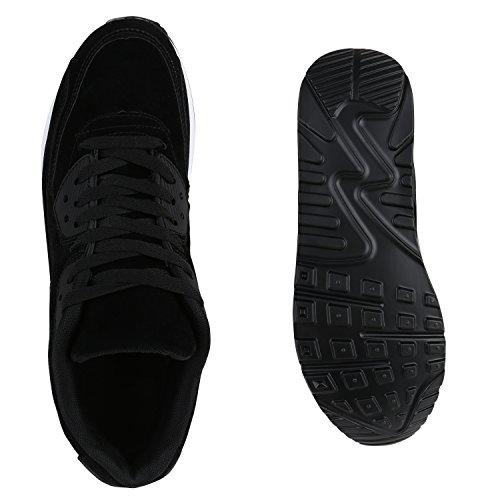 Herren Sportschuhe Leder-Optik | Sneakers Velours Glitzer | Metallic Runners | Freizeitschuhe Schnürer Schwarz Velours