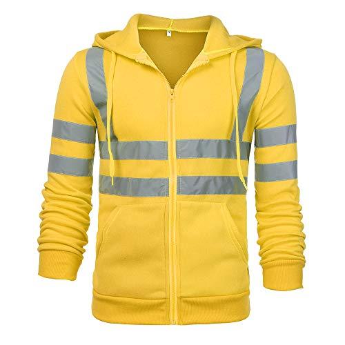 Auied Herren Jacke Road Work High Visibility Pullover Langarm-Kapuzenpullover Oberteile