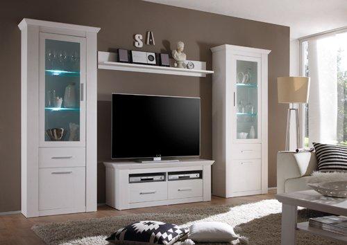 Wohnzimmerschrank, Wohnwand, Schrankwand, Anbauwand, Fernsehwand, Wohnzimmerschrankwand, Wohnschrank, Pinie, Weiß - 2