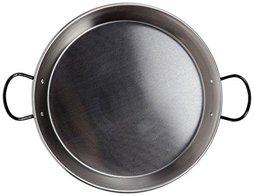 La Valenciana 32 cm Acero Pulido para Cocina de inducción Paella de cerámica con Asas, Negro, 32.0...