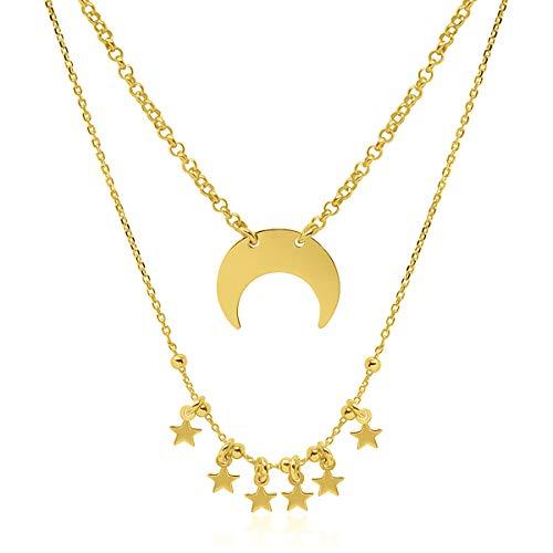 d43f681a8e55 WANDA PLATA Collar Colgante Media Luna Invertida para Mujer Plata de Ley 925  con Baño de