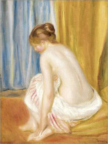 Auguste Renoir Leinwand (Leinwandbild 60 x 80 cm: Nach dem Bad von Pierre-Auguste Renoir - fertiges Wandbild, Bild auf Keilrahmen, Fertigbild auf echter Leinwand, Leinwanddruck)