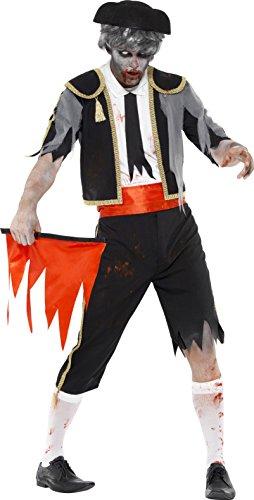 Smiffys, Herren Zombie-Matador Kostüm, Jackett, Hose, Kummerbund, Hut und Rotes Tuch, Größe: L, 44368