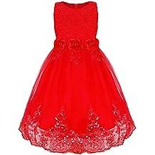 iEFiEL Vestidos Elegantes de Encaje Flores con Cola Larga para Niña Vestido Infantil de Boda Fiesta con Lentejuelas