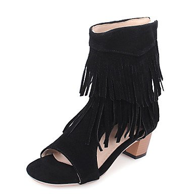 Sandali da donna Primavera Estate Comfort in pelle taffettata Casual Chunky Tacco nappa Walking Black