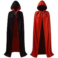 ZOEON Capa con Capucha para Fiesta de Disfraces, Reversible Negro Rojo Capa para Fiesta de Halloween, 140cm
