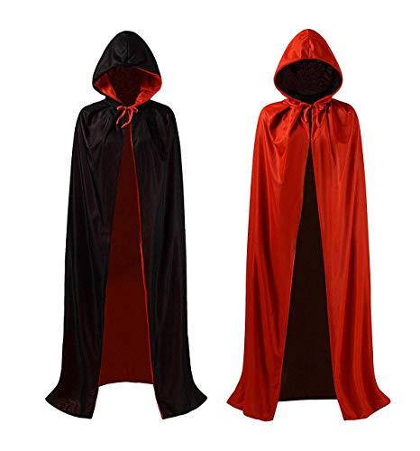 ZOEON Umhänge mit Kapuze für Kostüm Party, Schwarzes Rot Doppelseiten Umhänge für Halloween Party, 140cm
