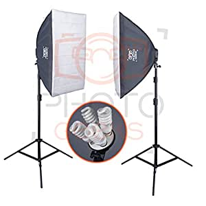 PhotoGeeks SBK2 Continuous Lighting Photography Kit | 2 x 70 x 50cm Softboxes | 8 x 30w Fluorescent 5500k Light Bulbs | 2 x 2m Stands