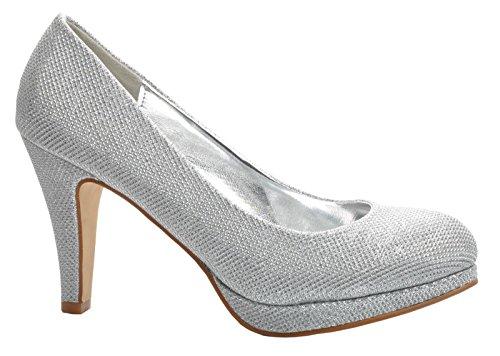 Maggie Boutique Plateado Zapatos de Plataforma de Plumas Talones de La Boda Fiesta