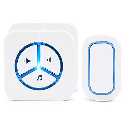 Zaiyi pulsante di chiamata di emergenza impermeabile bianco campanello wireless home vecchia casa chiamante senza fili di due telecomandi,white2doorbell+1button
