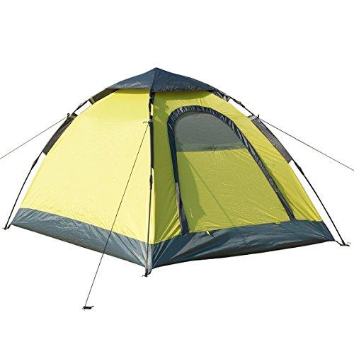Semoo - 2-Personen-Zelt mit Instant-Aufbauweise für Zeltauf- und -abbau in 1 Minute - Kuppelzelt - Familienzelt - Zitronengelb