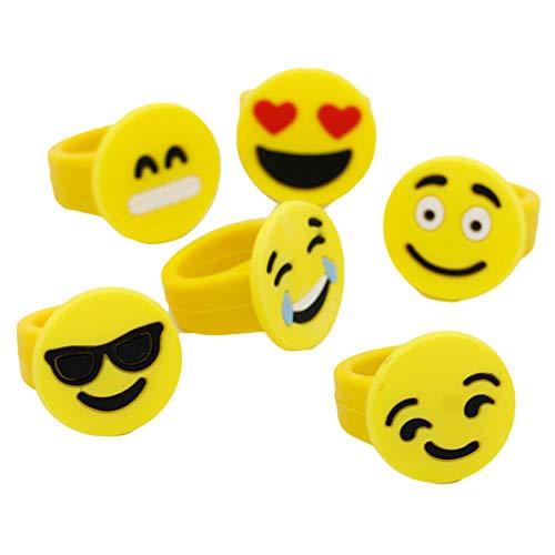mAjglgE 10 x niedliche Cartoon-Emoji-Expression-Ringe aus weichem PVC-Kunststoff, Kinderschmuck - zufällige Farbe - Emojis Stress-bälle