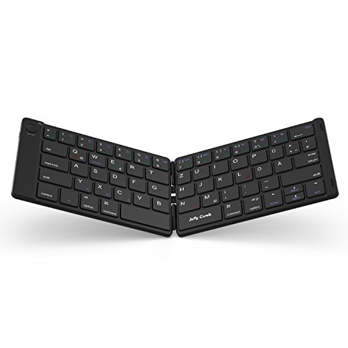 Jelly Comb Bluetooth Tastatur, Kabellose Mini Wiederaufladbare Faltbare Ultra Slim Tastatur, Deutsches Layout QWERTZ für Handy, Tablets und Smartphone mit iOS/Windows/Android, Schwarz (Smart-tv-box M5)