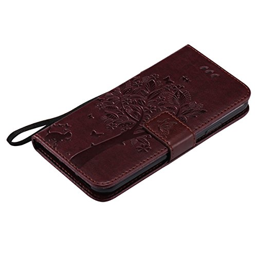 Custodia iPhone X,iPhone X Custodia in pelle,Felfy Belle Colorato Dipinto Elegante Lusso Rigida Fantasia Design Stand Flip PU pelle Portafoglio/Wallet Cuoio/Libro Bookstyle Leather Case per Carte di C Gatto&Albero,Marrone