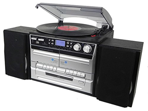 Denver 111201200070 Microchaîne Aspect Bois avec Dab+/Radio, Lecteur CD, Double Cassette et Lecteur de Disque USB, Lecteur de Carte SD et entrée AUX Argenté/Noir