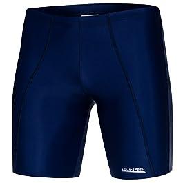 Aqua Speed Costume da Bagno | Tronchi di Nuoto Lungo di Uomo | Pantaloncini | Jammer | Protezione UV | Resistente al Cloro