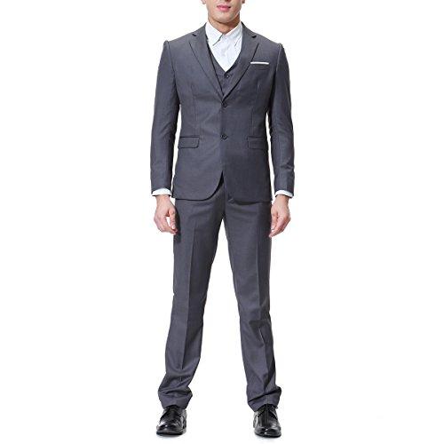 Men's Modern Fit 3-Piece Suit Blazer Jacket Tux Vest & Trousers