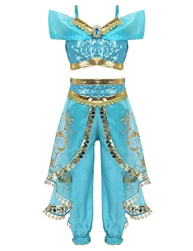 iEFiEL Fasching Mädchen Kostüm Sets Crop Top Bauchfrei mit Pluderhosen Tüll Kleid Ägypten Bauchtänzerin mit Pailletten für Karneval Party Türkis 134-140/9-10Jahre