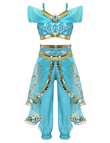 Tiaobug Mädchen Bauchtanz Kostüm Pailletten Schulterfrei Ärmellos Top Hose Set Karneval Prinzessin Cosplay Kostüme Türkis (Aladdin Hosen Kostüm)