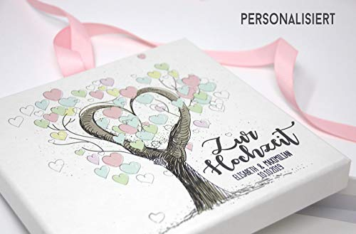 Geldgeschenk - Geld Verpackung -zur Hochzeit personalisierte Hochzeitsgeschenke für Brautpaar - Tree of Love (Personalisierte Geschenke Hochzeit)