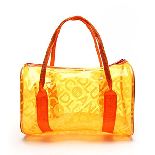 Qiansheng Fashion Portable Jelly colorati pois estivo da spiaggia in PVC trasparente borse borsetta nuoto impermeabile fitness sport lavaggio borsa con cerniera per donne, Orange, taglia unica Orange