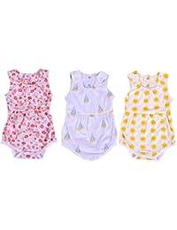 Moms Home Organic Cotton Baby Girls Frock Onesie/Bodysuit - Pack of 3- Mix Designs