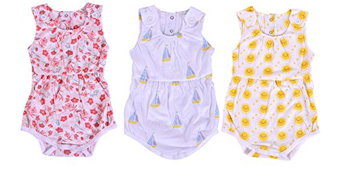 MOM'S HOME Baby Girl's Organic Cotton Bodysuit Frock (Multicolour, 0-3 Months)-Pack of 3