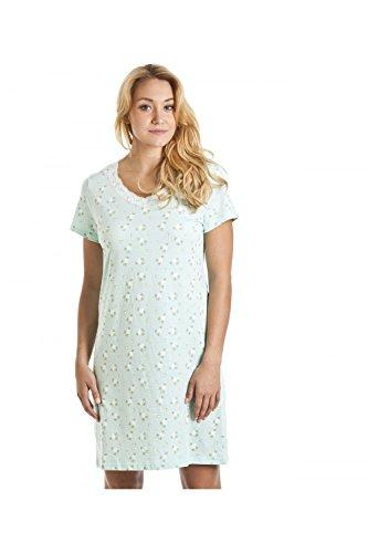 Baumwoll-print-nachthemd (Damen Nachthemd für den Sommer weiche Baumwolle Prints 42/44 Mint Flower)