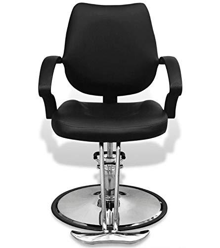 Wegarden - sedia da parrucchiere professionale, girevole, altezza regolabile, poggiapiedi in similpelle, colore: nero