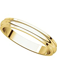 9ct Yellow Gold, Edged Half Round Wedding Band 3MM (sz H to Z5)