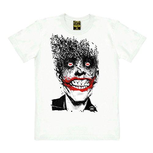 Traktor Camiseta Batman - Joker - Murciélagos - Camiseta de DC Comics - Batman - Joker - Bats - Camiseta con Cuello Redondo - Blanco - Camiseta Original de la Marca, Talla XXL