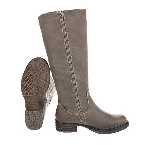 Klassische Stiefel Damenschuhe Klassische Stiefel Blockabsatz Blockabsatz Reißverschluss Ital-Design Stiefel Hellbraun