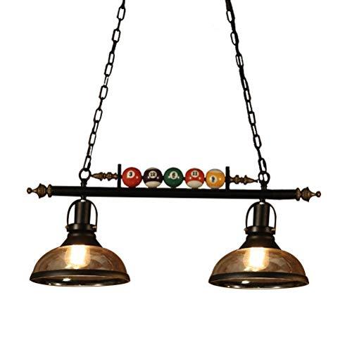 L@LILI Billard Decor 2 Lichter Kronleuchter für Billardhalle, Restaurant, Cafe, Bar, Club, Schlafzimmerbeleuchtung, Nordic Style Gewürft Pendant Schwarz Farbe, Doppel,B - Billard 2 Licht