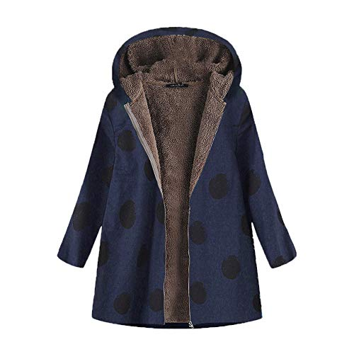 TOPKEAL Damen Jacke Mantel aus Baumwolle Hoodie Sweatjacke Plus Samt Langarm Sweater Sweatshirt Kapuzenpullover mit Zip Tasche Pullover Coats Pulli Tops (Marine b, XXL)