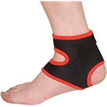 Dehang - Tobillera Ajustable Protector Protección Soporte Venda para Tobillos Tenis Fútbol Baloncesto Fitness Musculación Gimnasio - Negro Rojo