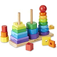 Melissa & Doug 10567 Multi Geometric Stacker Toddler, Developmental Toys, Rings, Octagons, and Rectangles, 25 Colourful Wooden Pieces, 27.94 cm H x 8.89 cm W x 21.59 cm L