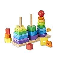 IMPILATORE GEOMETRICO  Abbina e ordina questi 25 pezzi di legno colorati, e la creazione di abilità è solo una parte del divertimento. Anelli, ottagoni e rettangoli possono essere infilati su tre aste, impilati uno sopra l'altro o allineati ...