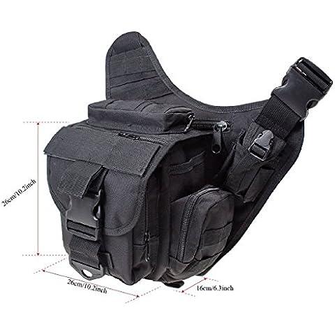 Gearmax® 600D Multifunzione Tattico Militare Dello Zaino Messenger Bag Tracolla Bag Marsupio Cameras Zaino Escursionismo Bag per Viaggiare Trekking alpinismo Camping e Altri All'aperto Sport(Nero)