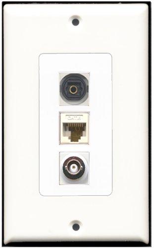 RiteAV-1Port Toslink und 1Port BNC und 1Port Cat6Ethernet White Decora Wall Plate Decora Decora Insert Plate