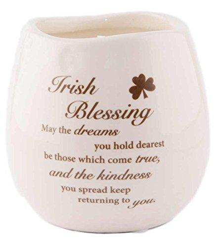 Irish Blessing White Scented Candle in Stoneware Jar Irish Blumen